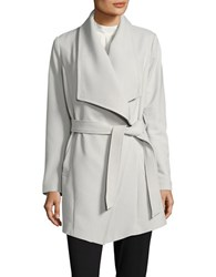 Tahari Shawl Collar Wrap Coat Silver