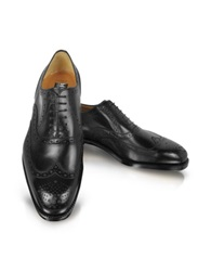 Moreschi Black Leather Wingtip Oxford Shoes
