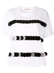 Marni Sequin Stripe T Shirt White