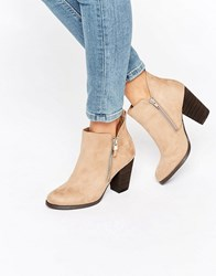 Call It Spring Kokes Zip Heeled Ankle Boots Beige