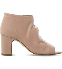 Dune Ivory Peep Toe Leather Ankle Boots Blush Leather