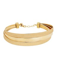 Lord And Taylor 14K Yellow Gold Satin Polished Triple Twisted Cuff Bracelet