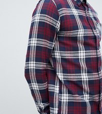 D Struct Tall Pocket Button Down Tartan Flannel Shirt Red