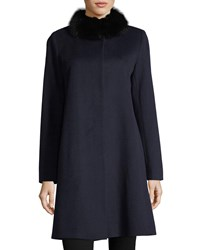 Fleurette Button Front Fur Trimmed Collar Wool Coat Midnight Fox