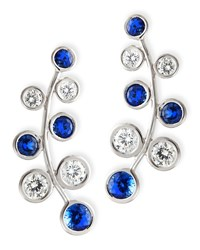 18K White Gold Vine Earrings With Diamonds And Sapphires Rina Limor Blue