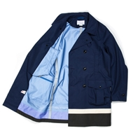 Nanamica Gore Text Pea Coat In Blue Charcoal Atoo.Co.Uk