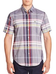 Lacoste Short Sleeve Resort Plaid Shirt White