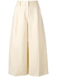 Joseph Wide Leg Cropped Trousers Women Cotton Linen Flax 38 Nude Neutrals