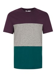 Topman Purple Teal And Grey Panelled T Shirt