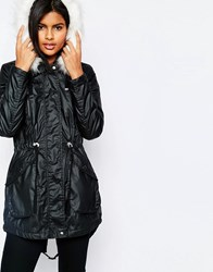 Vero Moda Short Padded Jacket With Faux Fur Hood Black