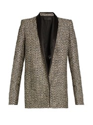 Haider Ackermann Depompadour Shawl Lapel Metallic Tweed Jacket Gold