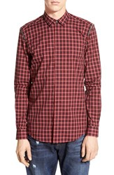 Men's Antony Morato Slim Fit Long Sleeve Plaid Shirt With Zipper Detail