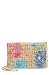 Chelsea 28 Chelsea28 Embroidered Woven Straw Clutch Blue Multi