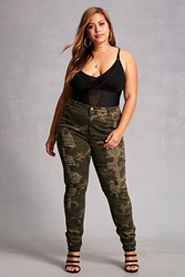 Forever 21 Plus Size Distressed Camo Jeans Olive Tan