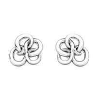 1986 Wiggle Wiggle Memory Knot Stud White And Rhodium White Silver