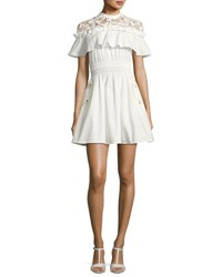 Self Portrait Hudson Lace Yoke Ruffle Mini Dress White