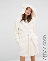 Asos Petite Fluffy Cloud Robe With Ears Cream