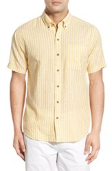 Men's Big And Tall Cutter And Buck 'Gulf Stripe' Classic Fit Linen And Cotton Sport Shirt