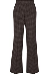 Marc Jacobs Checked Wool Wide Leg Pants Brown