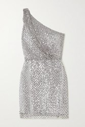 Michelle Mason One Shoulder Sequined Mesh And Silk Mini Dress Silver