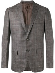 Caruso Plaid Blazer Men Silk Linen Flax Cupro Wool 54 Brown
