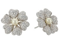 Nina Pluma Pearl Flower Earrings Rhodium Ivory Pearl White Cz Earring Silver