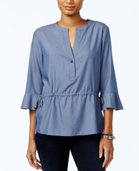Tommy Hilfiger Split Neck Drawstring Waist Top Only At Macy's Chambray Blue