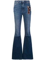 Dolce And Gabbana Logo Patch Flared Jeans Blue