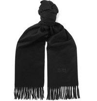 Hugo Boss Fringed Cashmere Scarf Black
