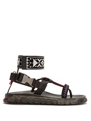 Valentino Graphic Embroidered Leather Sandals Black Multi