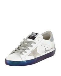 Golden Goose Superstar Love Me For Leather Low Top Platform Sneaker With Suede Star White Silver Navy