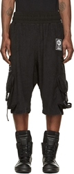 Ktz Black Terrycloth Patched Sarouel Shorts