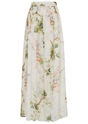 Philosophy Ivory Floral Silk Chiffon Maxi Skirt
