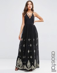 Asos Tall Strappy Maxi Dress With Embroidered Hem Black