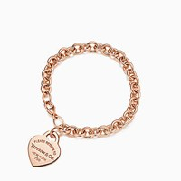 Tiffany And Co. Return To Tiffanytm Medium Heart Tag In 18K Rose Gold On Bracelet Large. No Gemstone