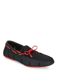 Swims Braided Lace Loafers Black Red