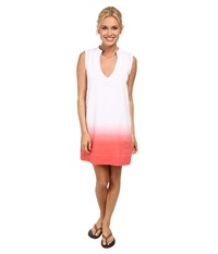 Carve Designs Beach Shift Dress White W Papaya Dip Dye Women's Dress Taupe