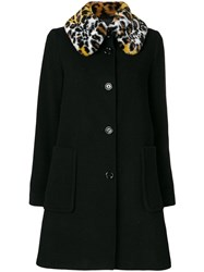 Love Moschino Faux Fur Collar Coat Women Modacrylic Polyamide Polyester Virgin Wool 40 Black