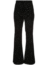Christian Siriano Crystal Embellished Flared Trousers Black