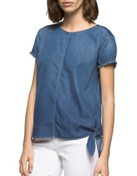 Ck Calvin Klein Cotton Knot Denim Top Blue