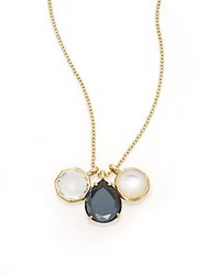 Ippolita Rock Candy Gelato Piazza De Spagna Clear Quartz Hematite Mother Of Pearl And 18K Yellow Gold Three Pendant Necklace