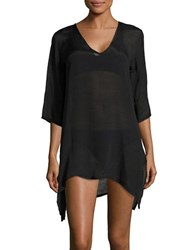 J Valdi Textured Asymmetrical Cover Up Tunic Black