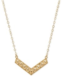 Macy's Textured Chevron Pendant Necklace In 14K Gold