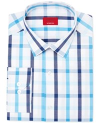 Alfani Men's Slim Fit Stretch Aqua Blue Check Dress Shirt Only At Macy's