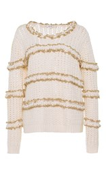 Manoush Ruffle Crochet Pullover Off White