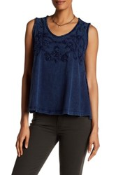Max Studio Stone Wash Sleeveless Tank Blue