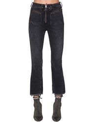 Diesel Earlie High Rise Cropped Denim Jeans Washed Black
