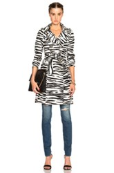 Burberry Prorsum Zebra Print Trench In Animal Print Black White