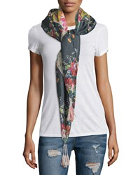 Tropical Floral Print Silk Scarf Multi Johnny Was Collection