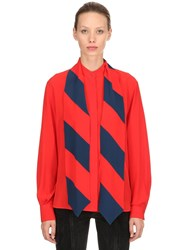 Givenchy Ruffled Silk Crepe De Chine Blouse Red Blue